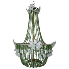 1930's White Opaline Huge Murano Flowers Drops Green Beads Empire Chandelier