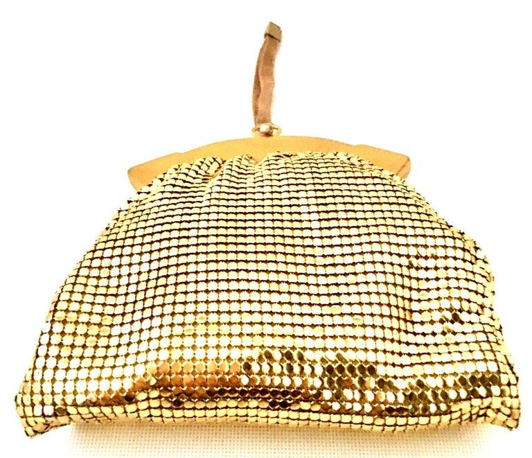 1930'S Whiting & Davis Gold Metal Mesh Wristlet Evening Bag 1