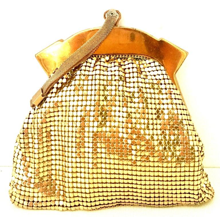 Women's or Men's 1930'S Whiting & Davis Gold Metal Mesh Wristlet Evening Bag