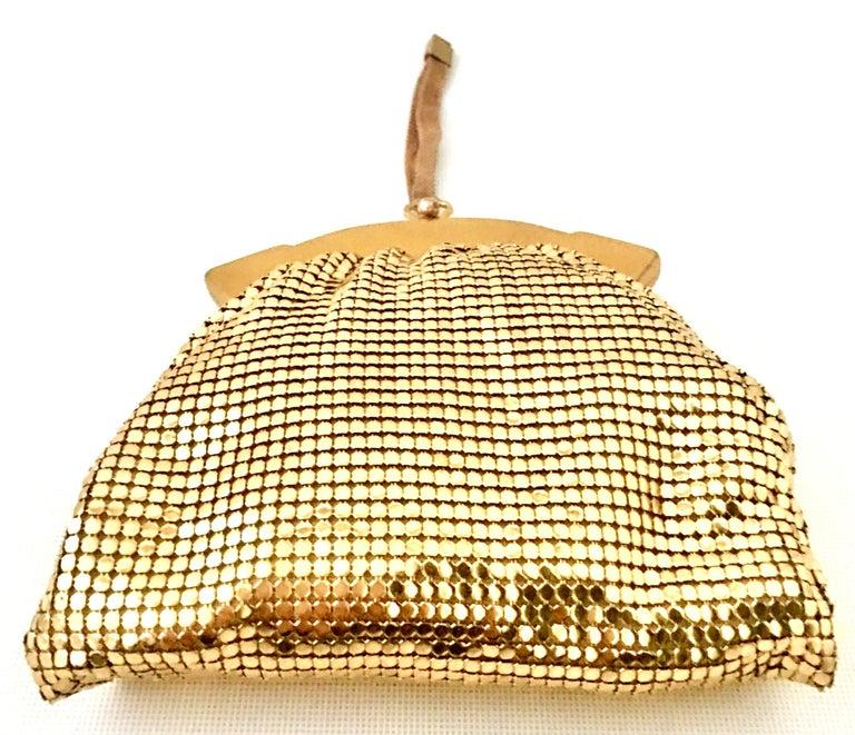 Vintage Whiting & Davis Gold Metal Netz Armband Abendtasche 3