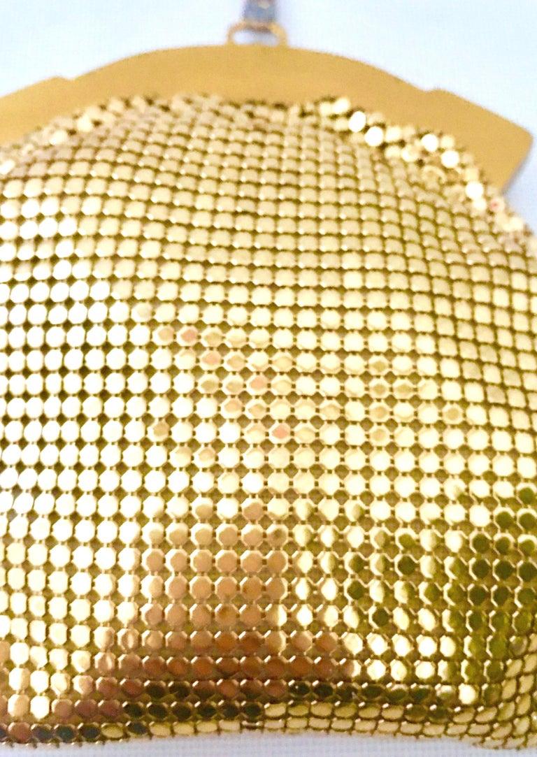 Vintage Whiting & Davis Gold Metal Netz Armband Abendtasche 5