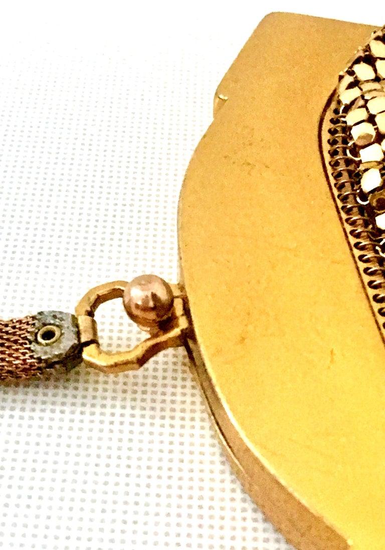 1930'S Whiting & Davis Gold Metal Mesh Wristlet Evening Bag 4