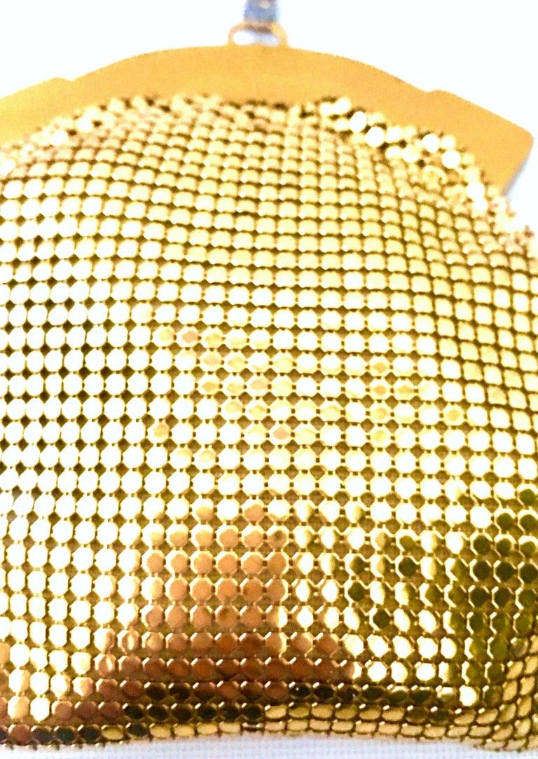 1930'S Whiting & Davis Gold Metal Mesh Wristlet Evening Bag 2