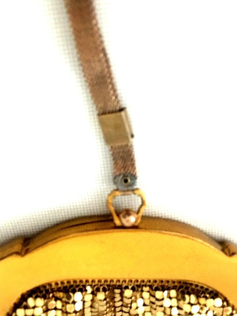 1930'S Whiting & Davis Gold Metal Mesh Wristlet Evening Bag 3