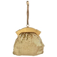 1930'S Whiting & Davis Gold Metal Mesh Wristlet Evening Bag