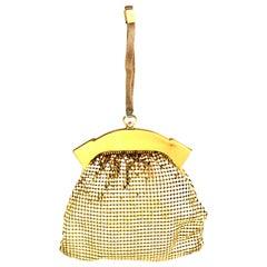 1930'S Whiting & Davis Gold Metal Mesh Wristlet Evening Bag