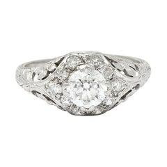 1930's William Kinscherf Co. 0.85 Carat Diamond Platinum Floral Engagement Ring