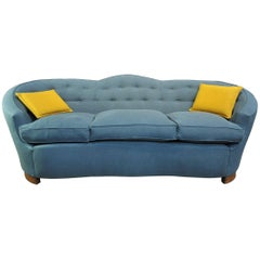 1930s Wood and Fabric Sofa Reupholstered in Grey Fabric