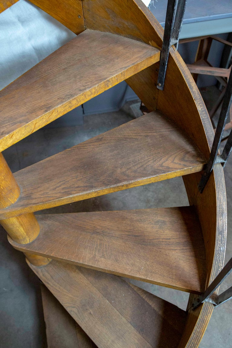 1930s Wood Spiral Staircase with Wrought Iron Balusters and Rope Railing For Sale 6