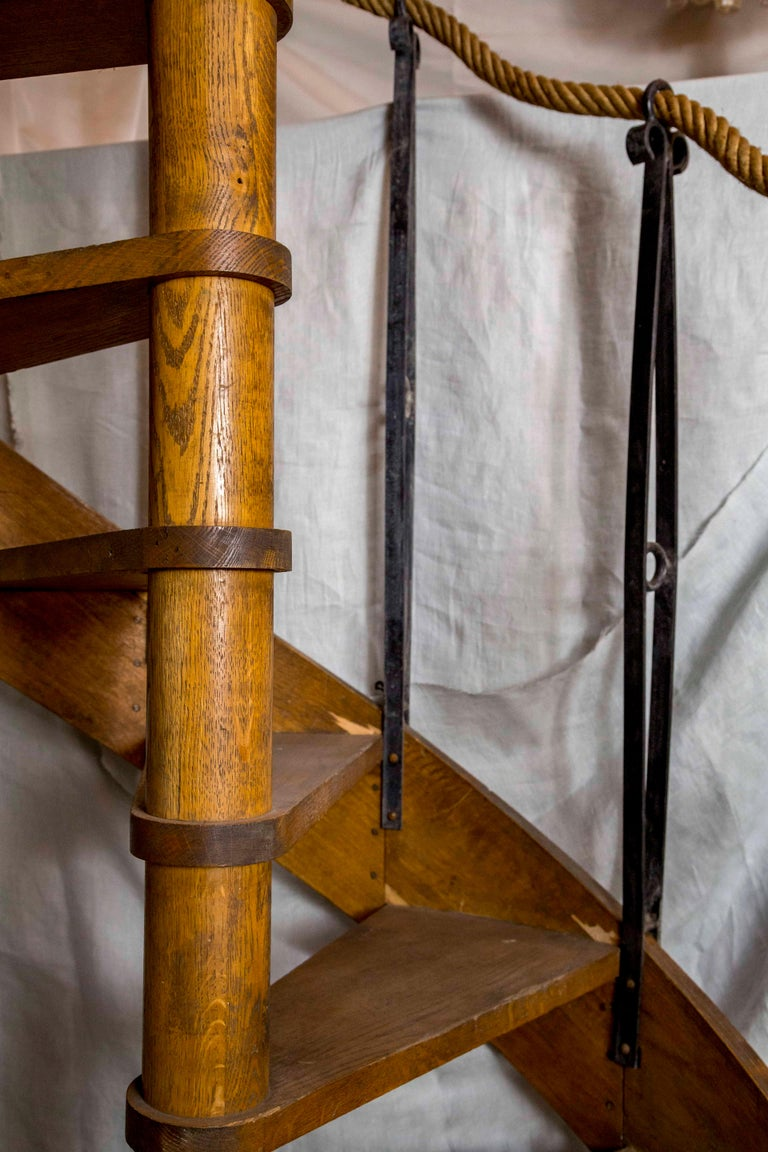 1930s Wood Spiral Staircase with Wrought Iron Balusters ...