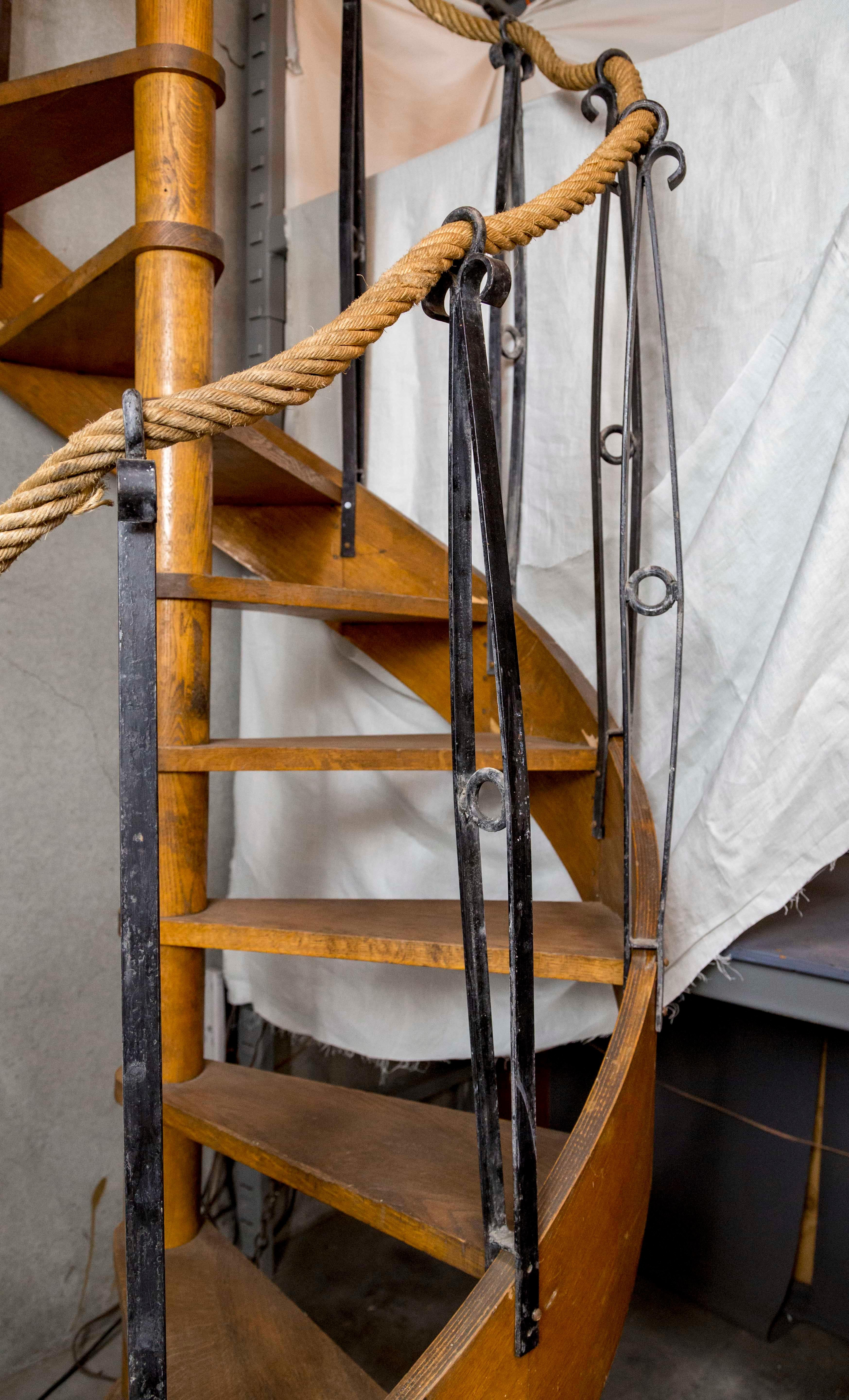 1930s Wood Spiral Staircase With Wrought Iron Balusters And Rope Railing