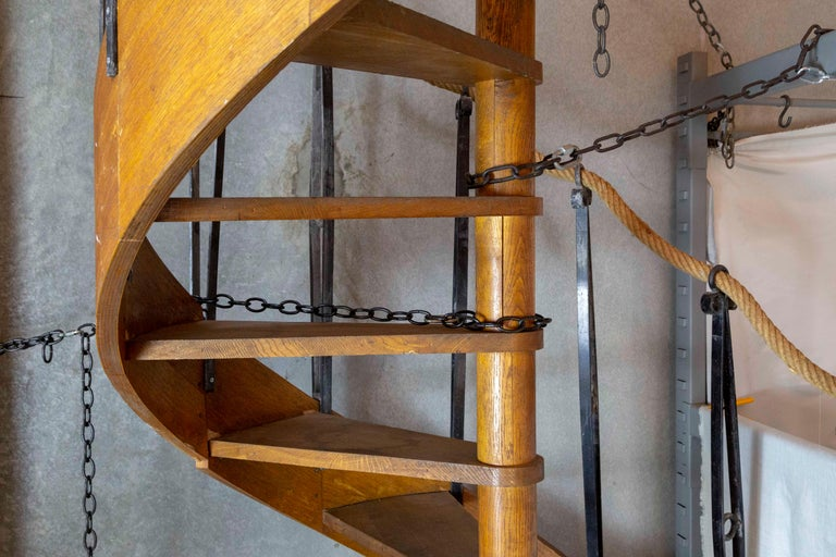 1930s Wood Spiral Staircase with Wrought Iron Balusters and Rope Railing For Sale 1