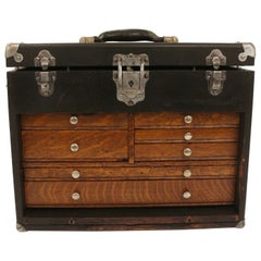 1930s Wooden Painted Machinist Tool Chest