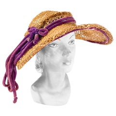 1930s Woven Straw Summer Picture Hat with Purple Velvet Cord Accent