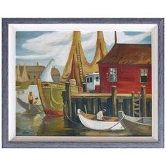 1930s WPA American School Shipyard Oil Painting