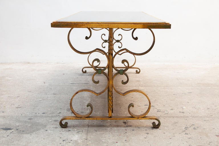 French 1930s Wrought Iron Art Deco Coffee Table, France  For Sale