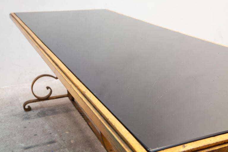 Hand-Crafted 1930s Wrought Iron Art Deco Coffee Table, France  For Sale