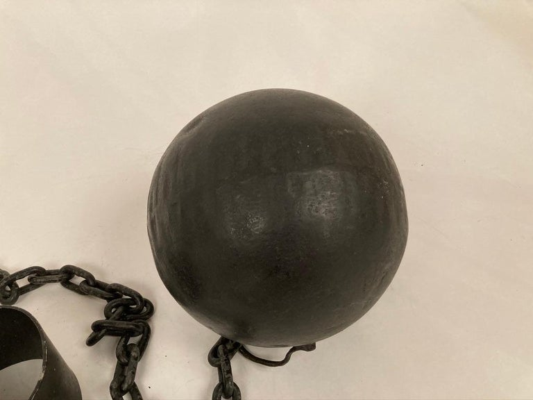 1930s Wrought Iron Ball and Chain Movie Prop For Sale 5