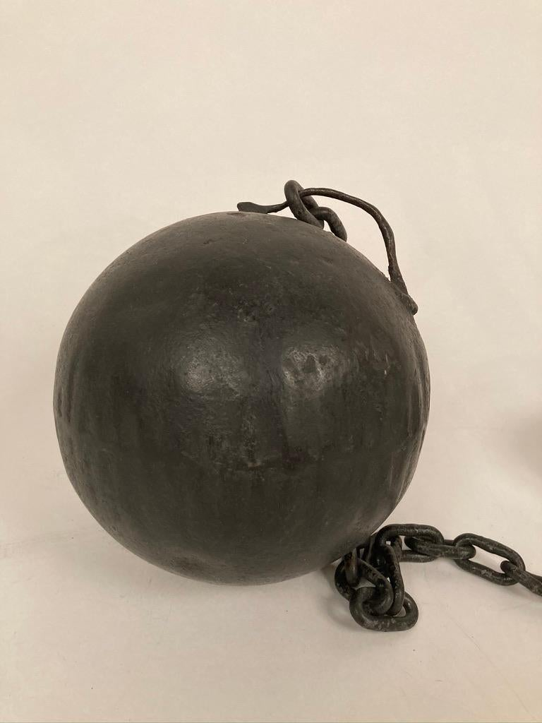 20th Century 1930s Wrought Iron Ball and Chain Movie Prop For Sale