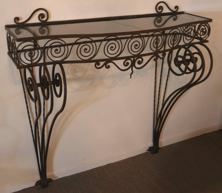 Art Nouveau 1930s Wrought Iron Console with Glass Top and Mirror For Sale