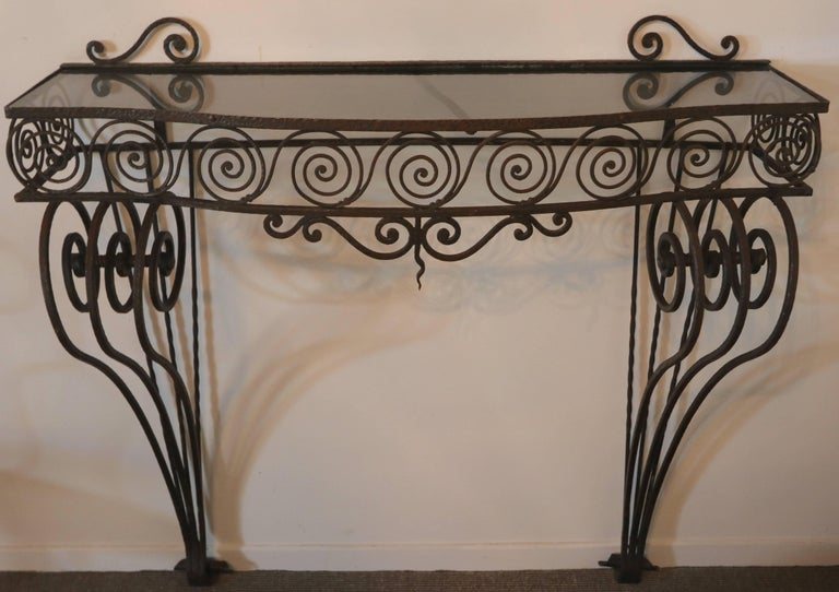 Argentine 1930s Wrought Iron Console with Glass Top and Mirror For Sale