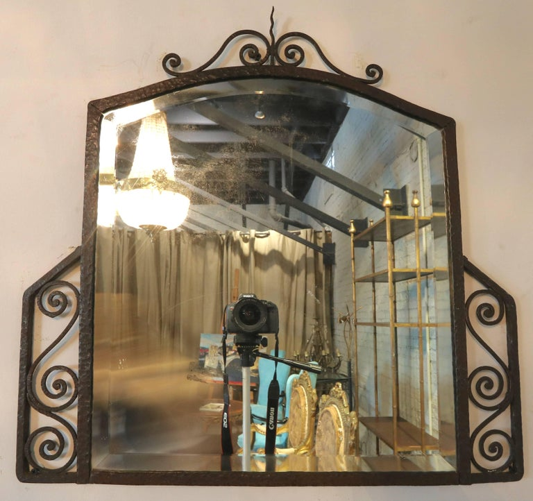 1930s Wrought Iron Console with Glass Top and Mirror In Good Condition For Sale In Los Angeles, CA