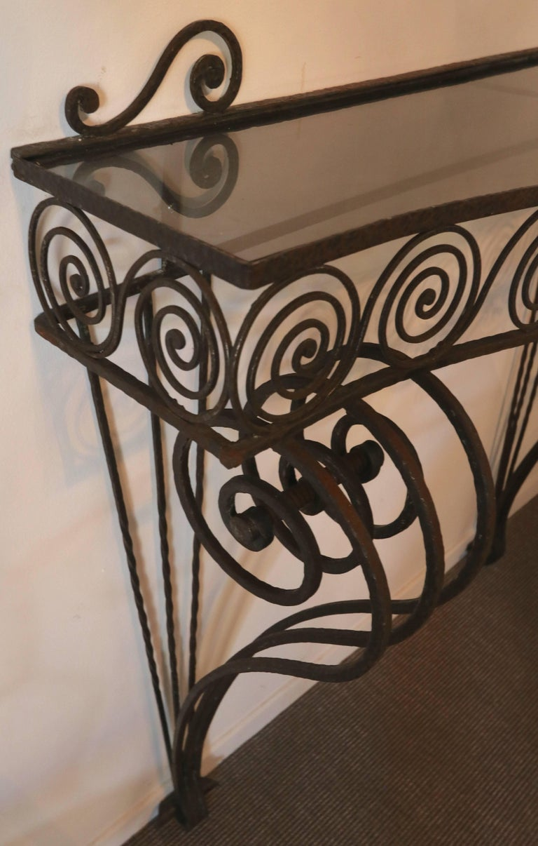 Mid-20th Century 1930s Wrought Iron Console with Glass Top and Mirror For Sale