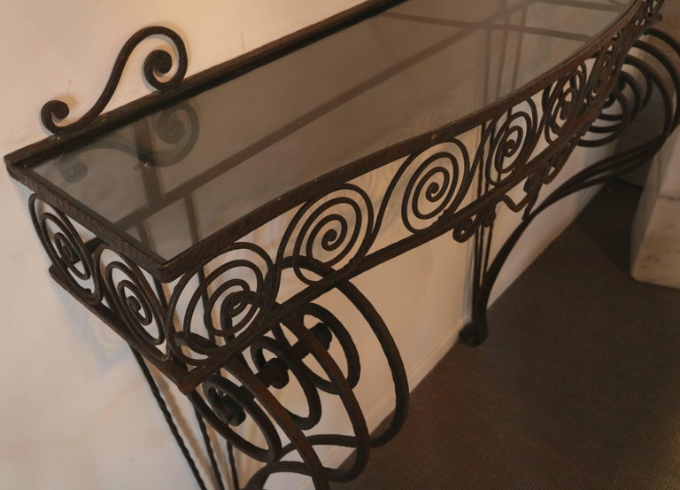 1930s Wrought Iron Console with Glass Top and Mirror For Sale 1