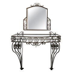 1930s Wrought Iron Console with Glass Top and Mirror