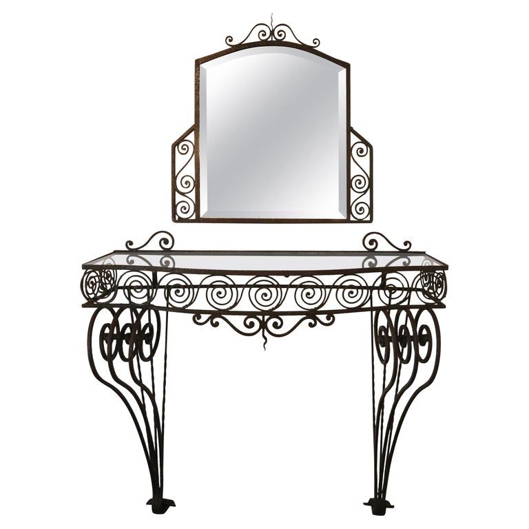 1930s Wrought Iron Console with Glass Top and Mirror For Sale