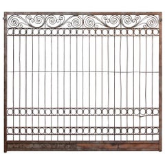1930s Wrought Iron Wide Elevator Gate with Scrolling Detail