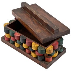 1930s Wunderkammer Bauhaus Style Painted Wooden Jewelry Lidded Box Studio Craft