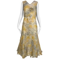 1930s Yellow and Grey Floral Print Silk Chiffon Sleeveless Dress