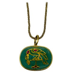 1930's Yellow Gold, Carved Emerald and Ruby Pendant Chain Necklace