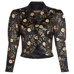 1930s Yvonne of Cherbourg Black Hand Painted Silk Cropped Jacket