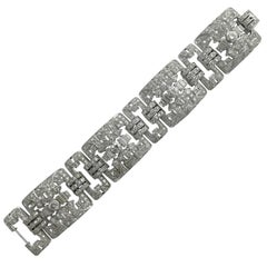 1930sS French Art Deco Diamond Platinum Bracelet