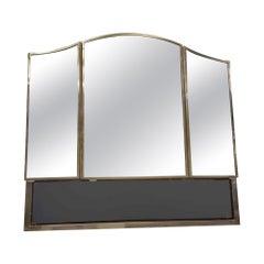 1931 NYC Waldorf Astoria Hotel Bath Vanity Cabinet, 3 Mirrors, Black Glass Shelf