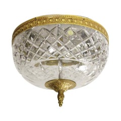 1931 NYC Waldorf Astoria Hotel Brass + Crystal Italian Flush Mount Light Fixture