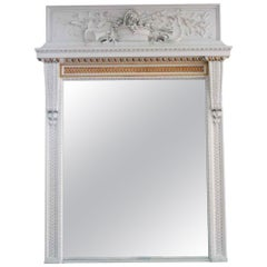 1931 NYC Waldorf Astoria Hotel Carved White Wooden Overmantel Mirror