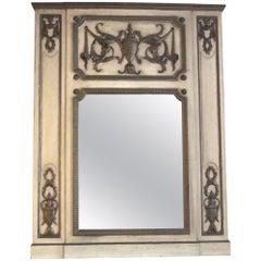 1931 NYC Waldorf Astoria Hotel Carved Wood Urn Motif over Mantel Mirror