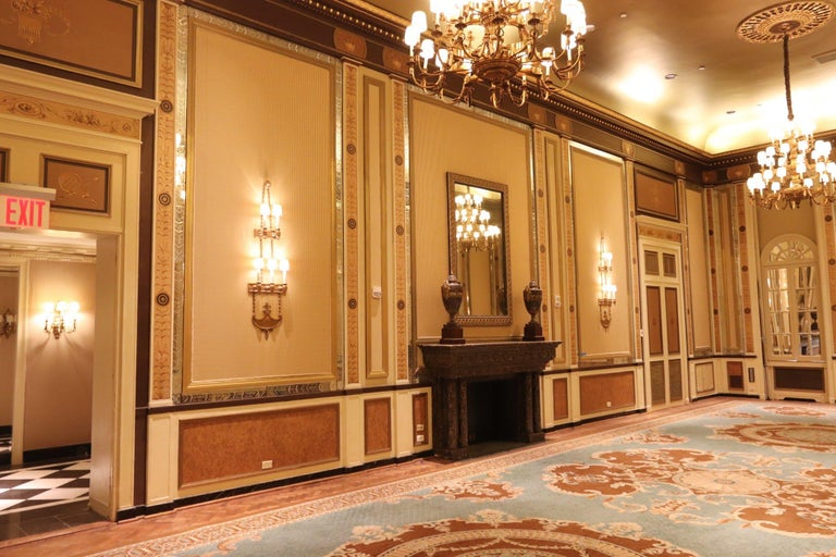 1931 NYC Waldorf Astoria Hotel Conrad Suite Hand Painted Pilasters from Italy For Sale 4