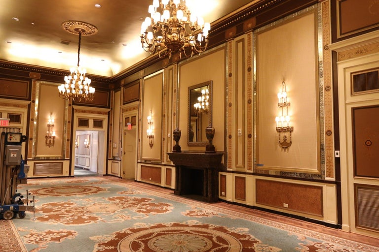 1931 NYC Waldorf Astoria Hotel Conrad Suite Hand Painted Pilasters from Italy For Sale 5