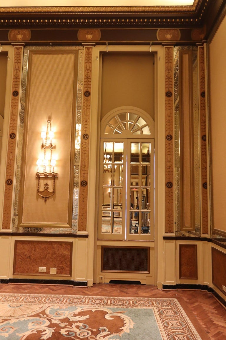 1931 NYC Waldorf Astoria Hotel Conrad Suite Hand Painted Pilasters from Italy For Sale 6
