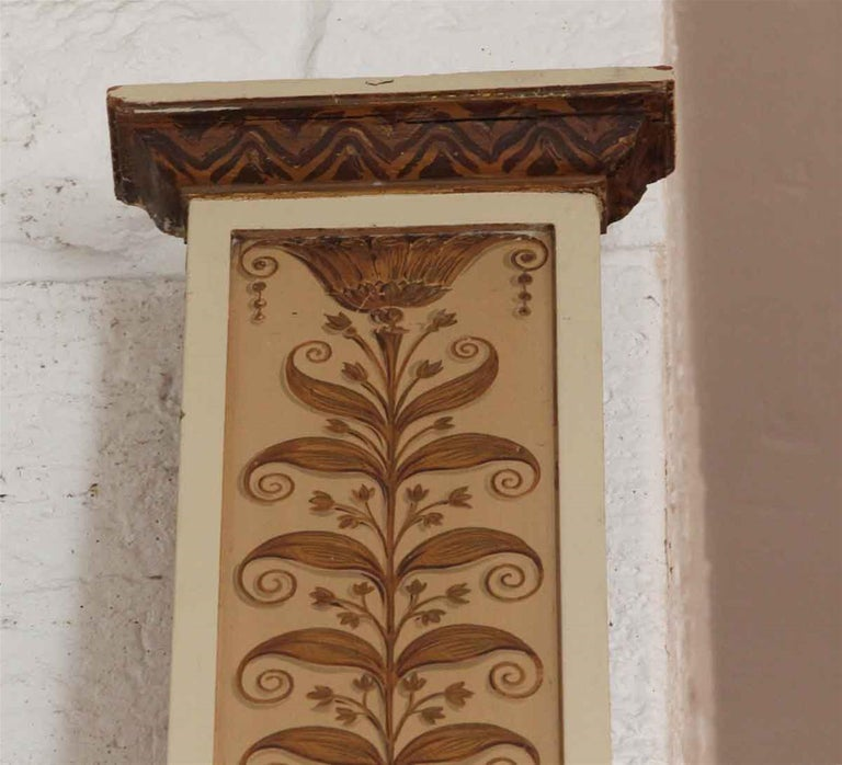 1931 tall and slender wooden decorative pilasters from the world famous Conrad Suite of the NYC Waldorf Astoria Hotel. These are hand painted with astounding detail. Some have small holes where fixtures were attached through. Waldorf Astoria