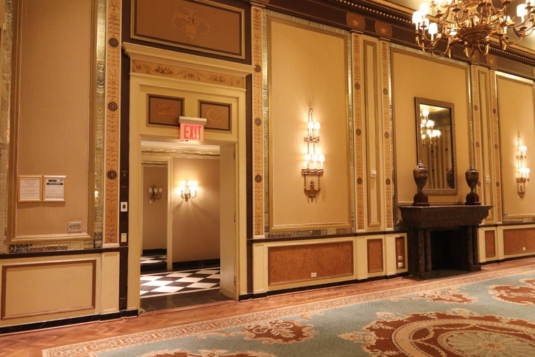 1931 NYC Waldorf Astoria Hotel Conrad Suite Hand Painted Pilasters from Italy For Sale 3
