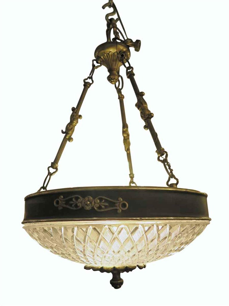 American 1931 NYC Waldorf Astoria Hotel Empire Cut Glass Pendant Light Chandelier For Sale