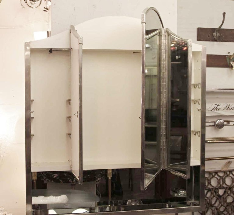 1931 Nyc Waldorf Astoria Hotel Etched Triple Mirror And Nickel Medicine Cabinet For Sale At 1stdibs