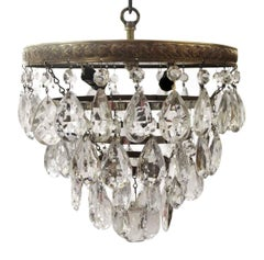 1931 NYC Waldorf Astoria Hotel Flush Mount Tear Drop Crystal Cake Light