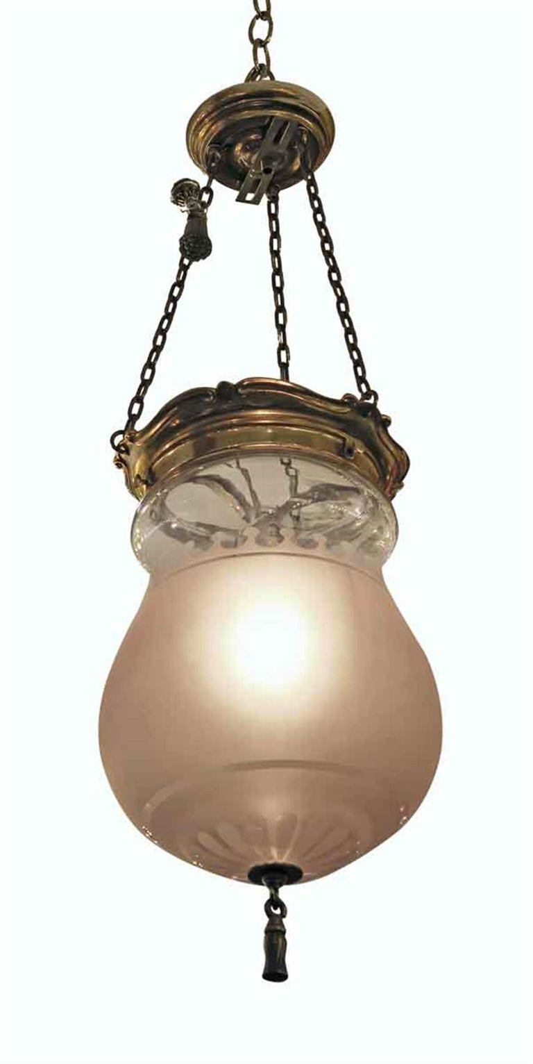 American 1931 NYC Waldorf Astoria Hotel Frosted Glass EF Caldwell Pendant Bell Jar Light For Sale