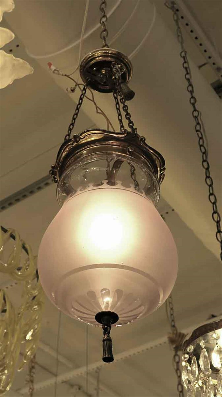 1931 NYC Waldorf Astoria Hotel Frosted Glass EF Caldwell Pendant Bell Jar Light In Good Condition For Sale In New York, NY